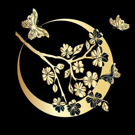 Gold twig sakura and butterfly are on black background. Vector illustration