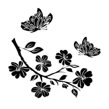 plums: twig sakura blossoms and butterflies. Vector illustration. Black Silhouette on white background