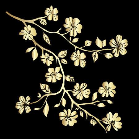 Gold twig sakura blossomson black background. Vector illustration Ilustração