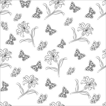 seamless pattern floral: Floral seamless pattern. Floral seamless texture with leaves. Vector illustration