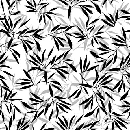 bamboo leaf: Floral seamless pattern. Bamboo leaf background. Floral seamless texture with leaves. Vector illustration Illustration