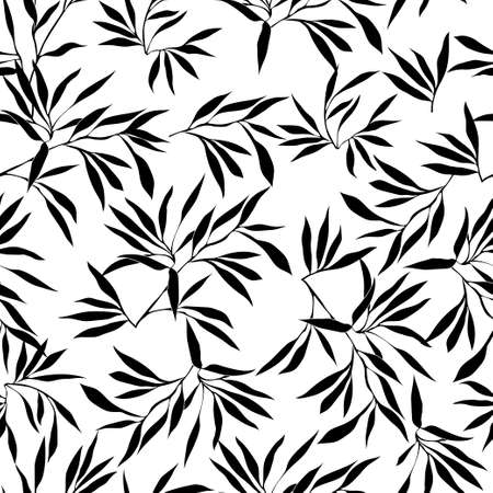 Floral seamless pattern. Bamboo leaf background. Floral seamless texture with leaves. Vector illustration 矢量图像