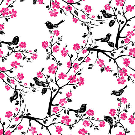 spring in japan: twig sakura blossoms and birds. Vector illustration. Black Silhouette. Seamless