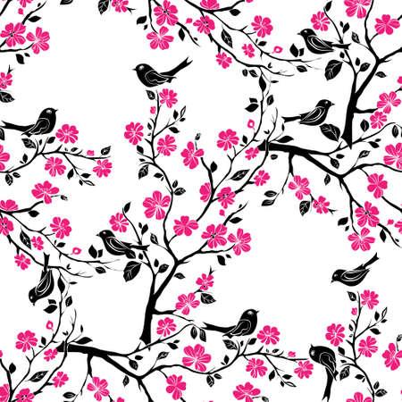 twig sakura blossoms and birds. Vector illustration. Black Silhouette. Seamless