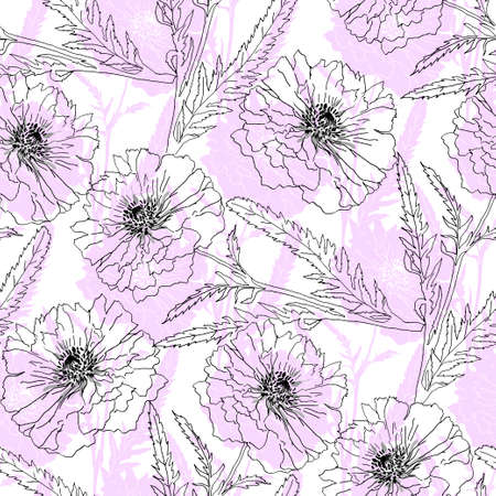 opium poppy: Terry poppy are on pink background. Vector illustration. Floral seamless texture.