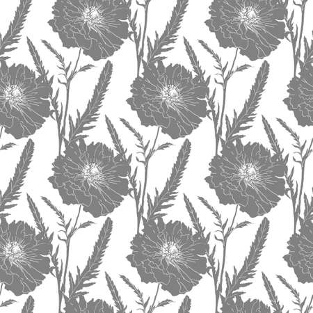 papaver: Poppy silhouette isolated on white background. Vector illustration. Floral seamless texture.