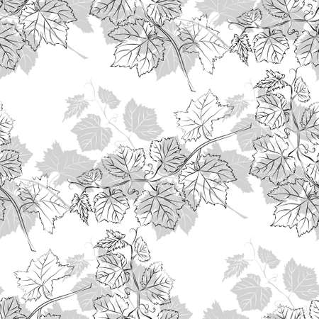Grey leaf seamless pattern. Floral seamless texture with grape. Vector illustration