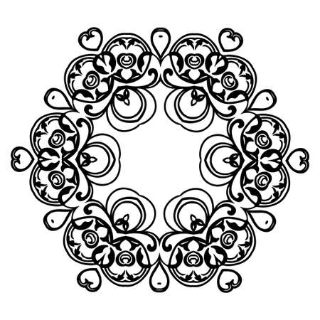 Ornament black white card with mandala. Geometric circle element made in vector. Perfect  cards for any other kind of design, birthday and other holiday, kaleidoscope,  medallion, yoga, india, arabic