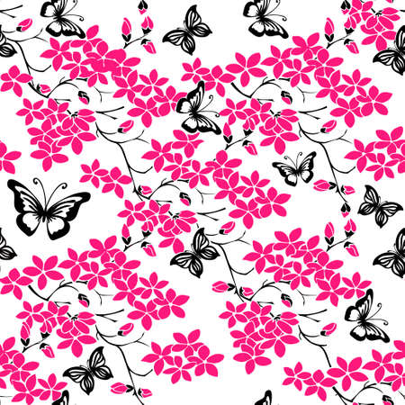 pink floral: twig sakura blossoms. Vector illustration. Black and pink Silhouette. Seamless Illustration