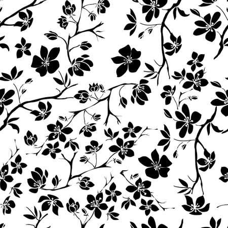 twig sakura blossoms. Vector illustration. Black Silhouette. Seamless