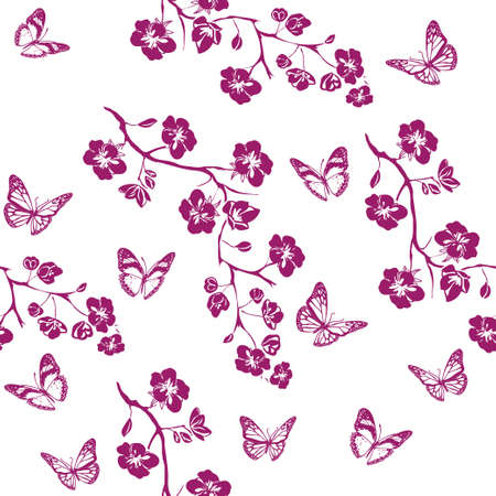 flower tree: twig sakura blossoms. Vector illustration. Pink Silhouette. Seamless pattern