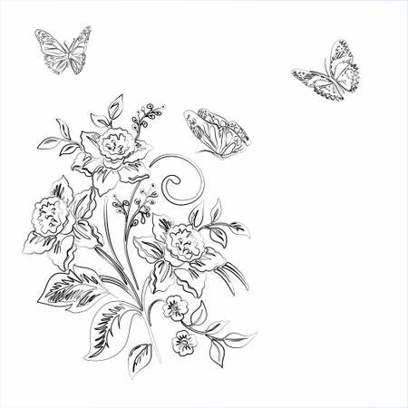 soulful: Elegance  pattern with flowers narcissus and butterfly on white background, vector illustration