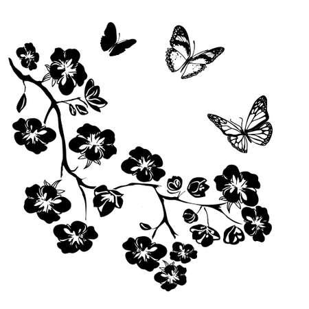 arboles blanco y negro: ramita flores y mariposas sakura. Ilustración del vector. Negro silueta sobre fondo blanco