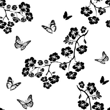 twig sakura blossoms. Vector illustration. Black Silhouette. Seamless pattern