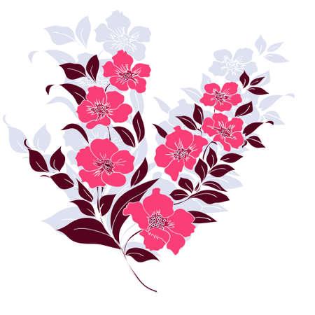 Pink twig sakura blossoms. Vector illustration. Color Silhouette