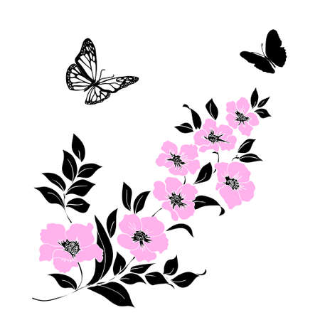 black and white image drawing: twig sakura blossoms and butterflies. Vector illustration. Black and pink Silhouette on white background