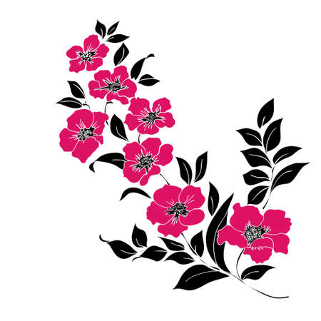 black cherry tree: Twig flower blossoms. Vector illustration. Red and black Silhouette