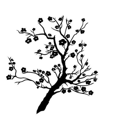 twig plum mei blossoms. Vector illustration. Black Silhouette 向量圖像