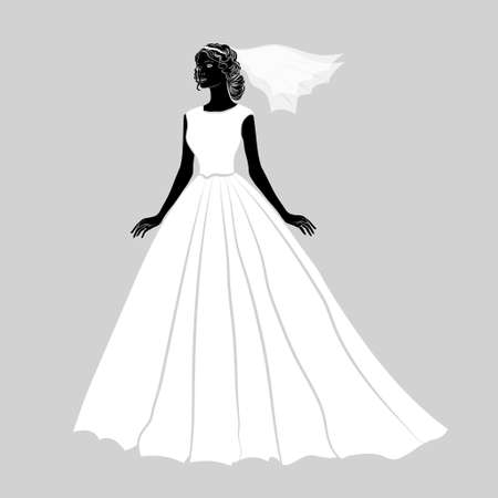 wedding dress: The  bride in a white wedding dress . Vector illustration. Illustration