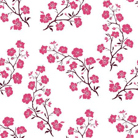 flor de sakura: ramita flores de Sakura. Ilustración del vector. Silueta rosada. Sin costura Vectores