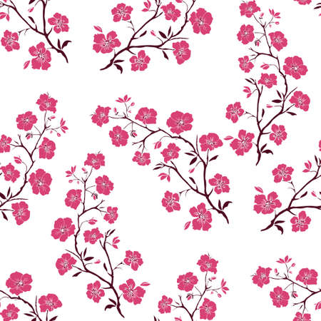 plums: twig sakura blossoms. Vector illustration. Pink Silhouette. Seamless