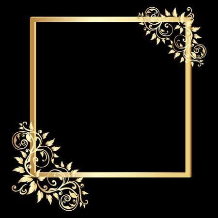 vintage gold frame: Vintage  gold  frame on black background. Vector illustration