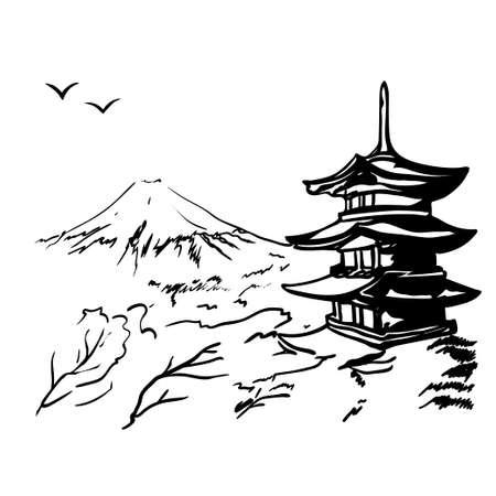 landscape with Fuji mount, sakura tree and Japan  pagoda illustration in original style.