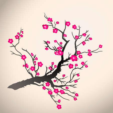 almond bud: Japanese plum blossom on a beige background. Vector illustration