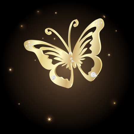 jewelry background: Gold Lace butterfly on brown background.  Vector illustration.