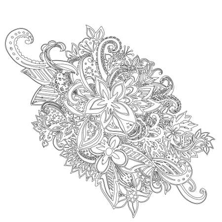 laced: Uncolored hand drawn lined pattern with many details. Laced vector pattern.