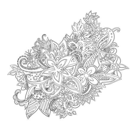 laced: Uncolored hand drawn lined pattern with many details. Laced vector pattern. Zentangle.