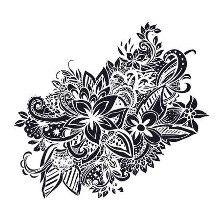 uncolored: Mano incoloro dibujado patr�n alineado con muchos detalles. Vector patr�n de cordones. Zentangle.