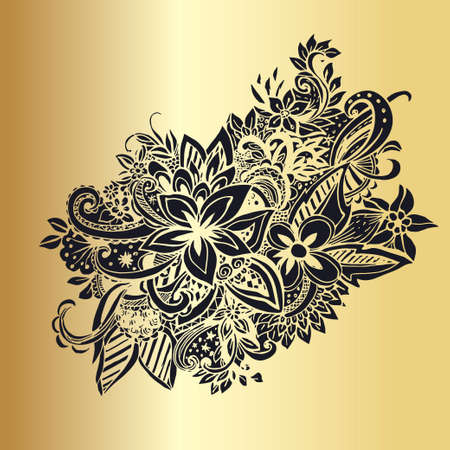 laced: Golden hand drawn lined pattern with many details. Laced vector pattern. Zentangle.