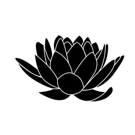 흰색 배경에 로터스 꽃 아이콘의 검은 실루엣 일러스트