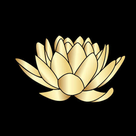 background designs: Golden silhouette of lotus flowers icon on a black background