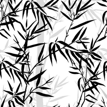 japones bambu: Patrón transparente. Bambú hoja de antecedentes. Textura inconsútil floral con las hojas. Ilustración vectorial Vectores