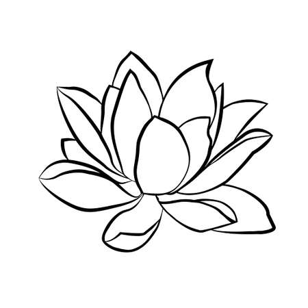 oriental: Lotus flowers icon. The black line drawn on a white background