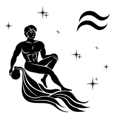 Black silhouette of  Aquarius are on  white background. Vector illustration Illusztráció