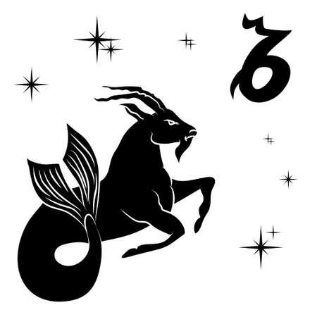 Black silhouette of  capricorn are on  white background. Vector illustration Иллюстрация