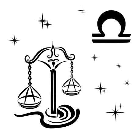 天秤座の黒いシルエットは、白い背景の上。ベクトル図