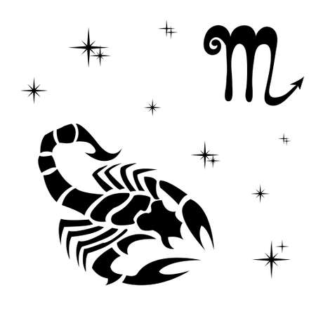 Zwart silhouet van Schorpioen zijn op een witte achtergrond. vector illustratie