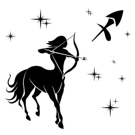 sagitario: Negro silueta de Sagitario son en el fondo blanco. Ilustración vectorial Vectores