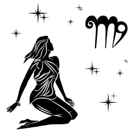 Black silhouette of  virgo are on  white background. Vector illustration