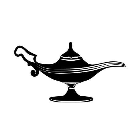 wick: Black silhouette of oil lamp icon, hand drawn vector illustration. Illustration