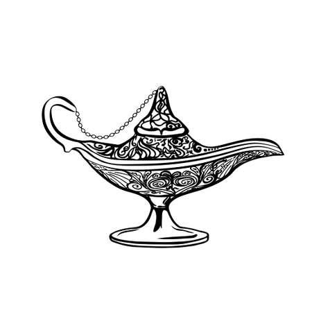 lampara magica: icono de la l�mpara de aceite, dibujado a mano ilustraci�n vectorial.