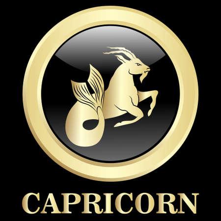 Capricorn  zodiac sign in oval frame, vector Illustration. Contour icon. Vectores