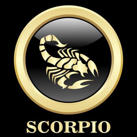 Scorpio zodiac sign in circle frame, vector Illustration. Contour icon.