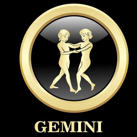 Gemini zodiac sign in circle frame, vector Illustration. Contour icon.