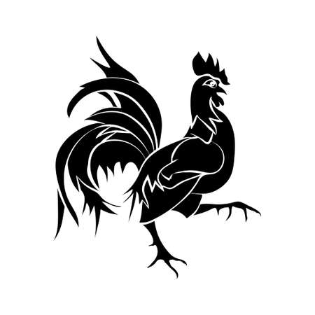 Black silhouette of an cock is on white background