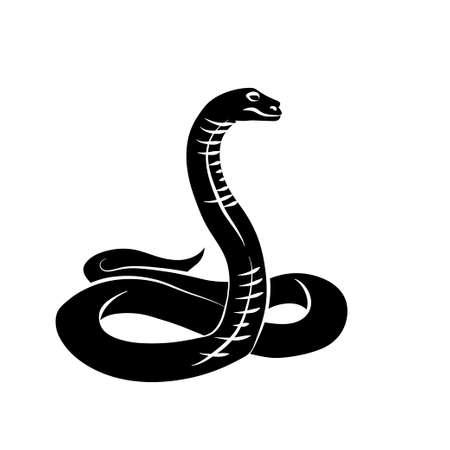 snake charmer: Vector illustration. Black snake on white background.